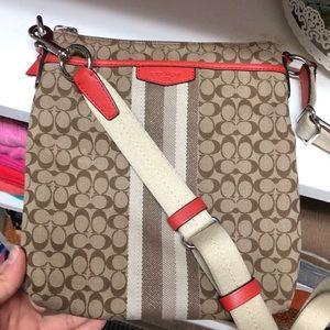 Brown & orange Coach crossbody purse